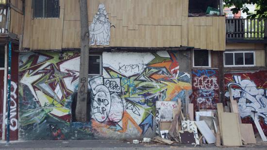 A graffitied facade